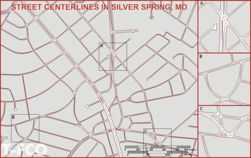Centerlining streets in Silver Spring MD